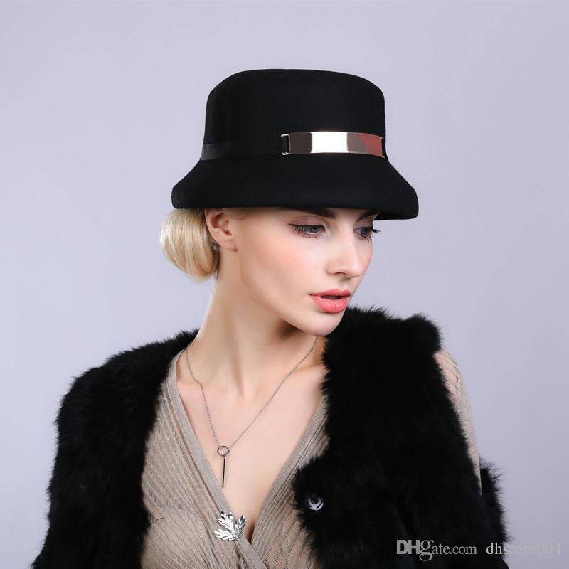 2020 Classic Ladies Beret 100% Fieltro de lana CLOCHE HAT SOMBRERO CAVER CAVER MUJERES FEDORA HAT FASTINADOR DE FASTINACT HATBOX