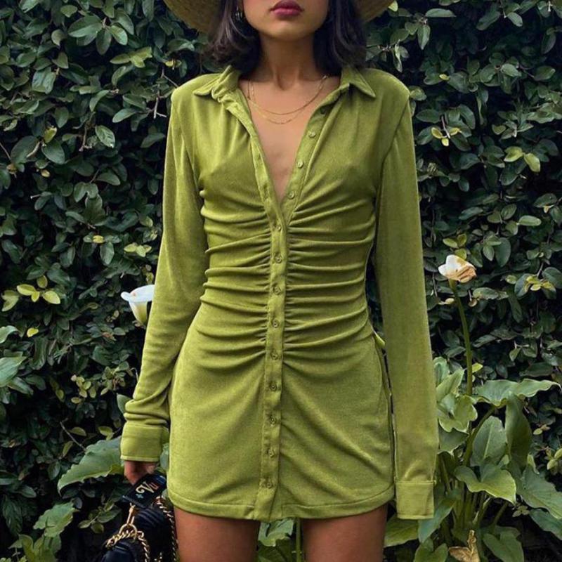 Кнопка с длинным рукавом вверх бархатная мини-рубашка платье для женщин падение 2021 одежда отворота для одежды ruched bodycon зеленая элегантная осень улица q1229