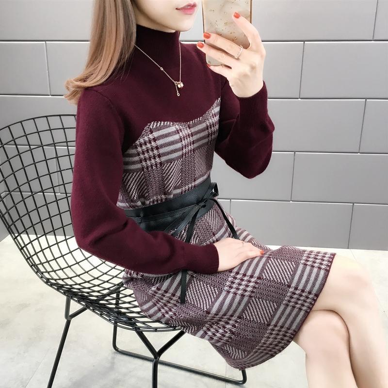 505357 [Zona N 1 derecha] - Tiro real - Primavera Nueva Cinturón de cuello alto High High Plaid Suéter 2019Ag