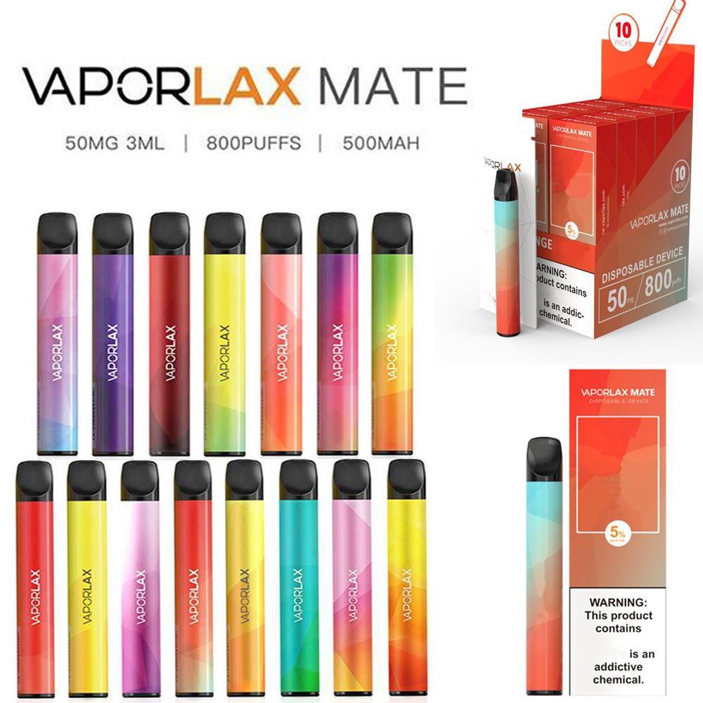 Genuine Vaporlax Mate Dispositivo de Vagem Descartável E-Cigarros 800 Puffs 500mAh 3ML Capacidade Bateria Vape Pen Kit