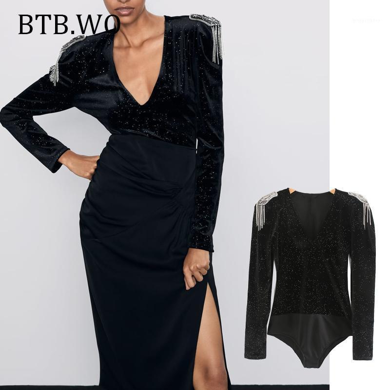 Женские комбинезоны Rompers BTB.wo Женская одежда сексуальный боди длинный рукав корпус костюм ползунки мода черный тонкий женский пассущий Femme1