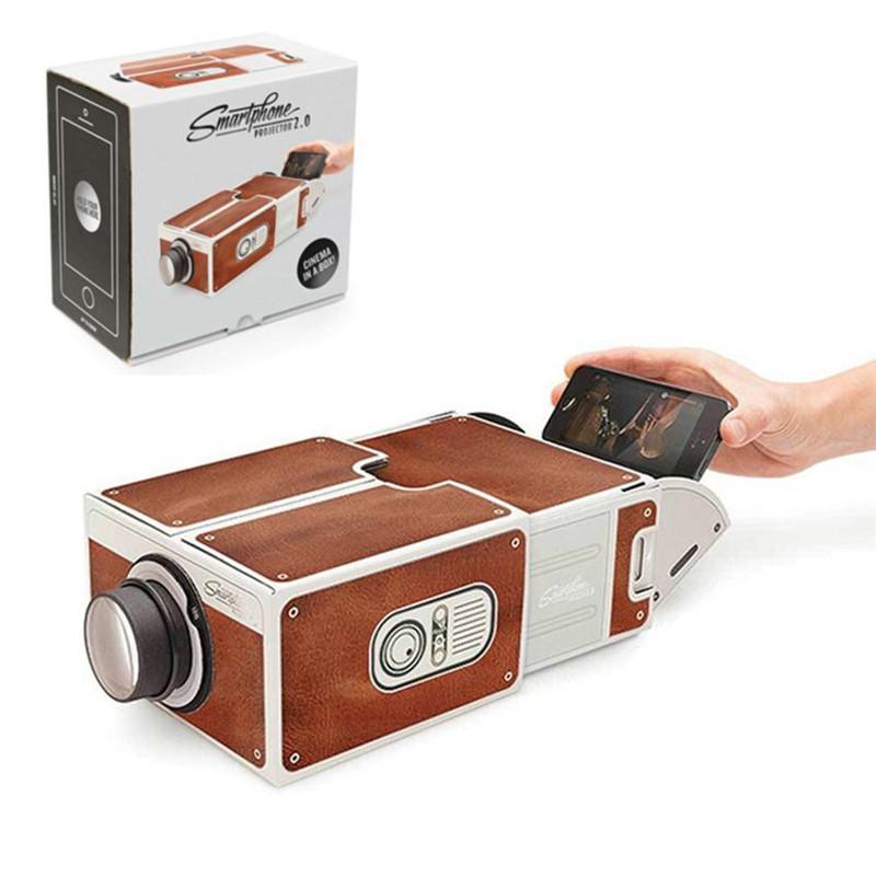 FAI DA TE Proiettore 3D Cartone Mini Smartphone Projector Light Light Novità Proiettore regolabile per telefono cellulare Cinema portatile in una scatola