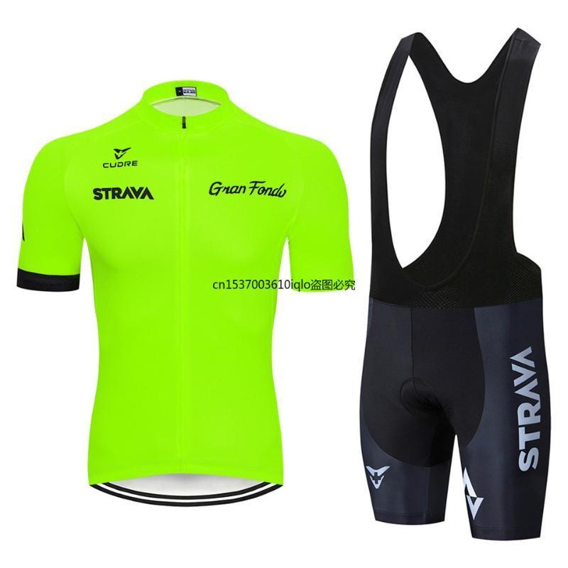 Strava 2021 Pro Summer Cycling Jersey Set Mountain Bike Clothing MTB 자전거 의류 마일러 록카 Ciclismo 남자 사이클링 세트