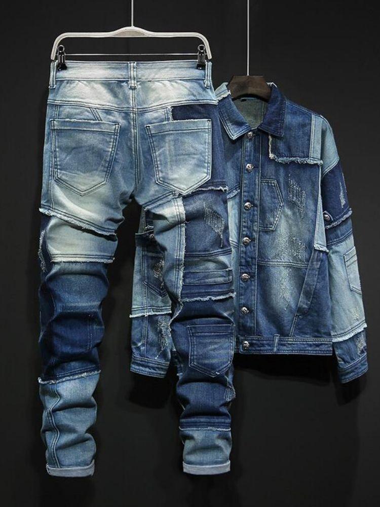 2020 개성 블루 남성 세트 혼합 된 색상 스플케이션 느슨한 데님 두 조각 세트 긴 소매 단일 브레스트 재킷 및 전체 길이 청바지