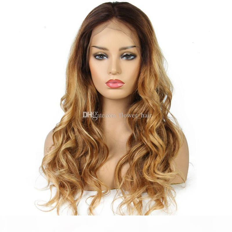 Ombre Human Hair Lace Lace Wig Wig Onda Do Dois Tom # 4T # 27 Glueless Lace Front Completa Lace Perucas Ombre Wig Peruca Para As Mulheres