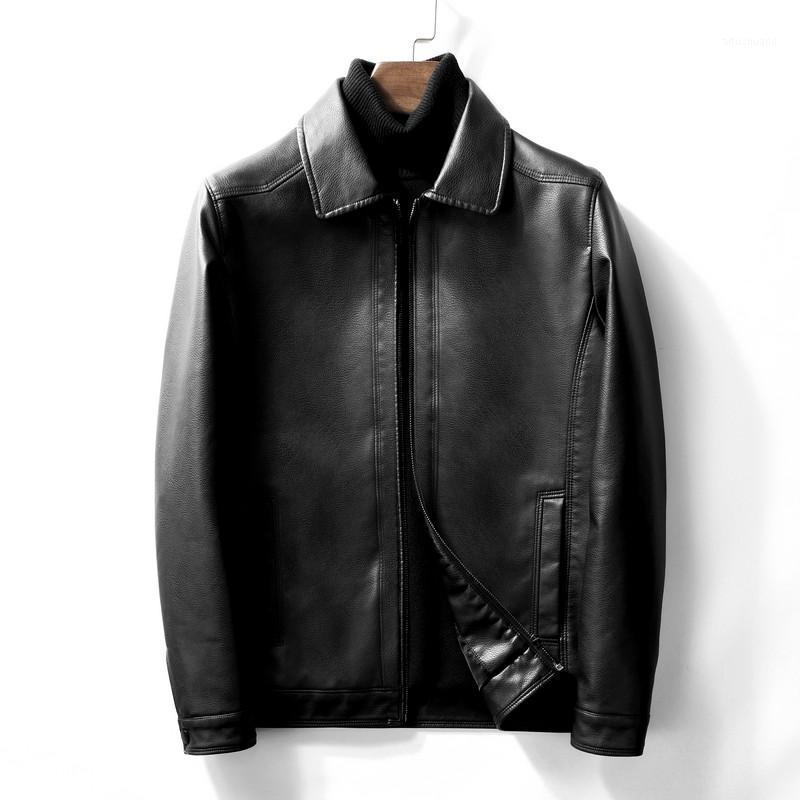 2020 nueva chaqueta de cuero de imitación casual para hombres con cremallera PU Solid Color Sapa Hombres Chaqueta de cuero Sencillez Fashion1