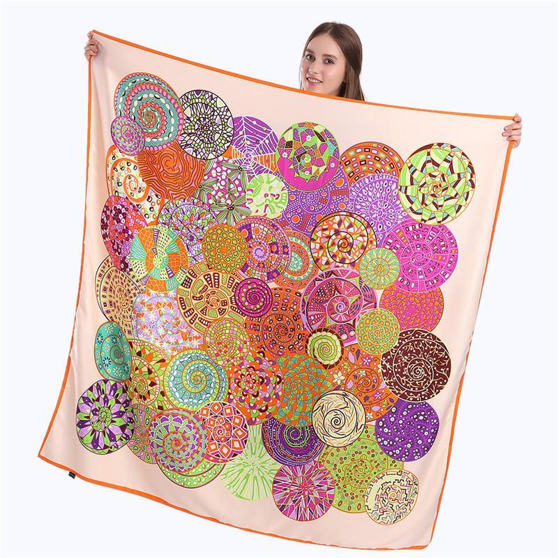Новая мода Twill Simulation Silk женский шелковый шарф 130см большой квадратный полотенце неба мечта на печать шаль шарф