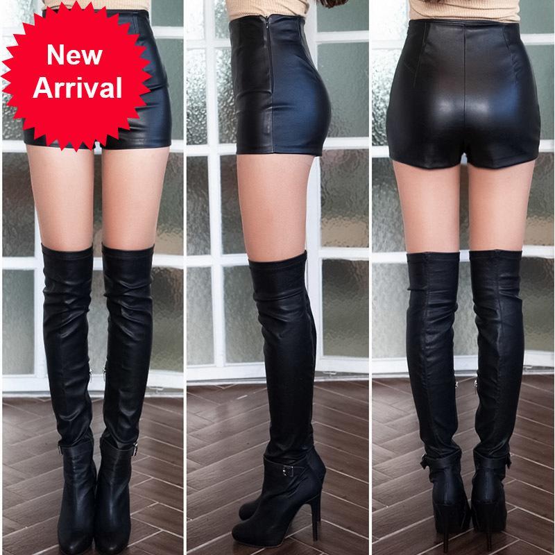 Puertas de PU Señoras Nuevo otoño e invierno ropa corta cintura alta cintura sexy imprimación DK117