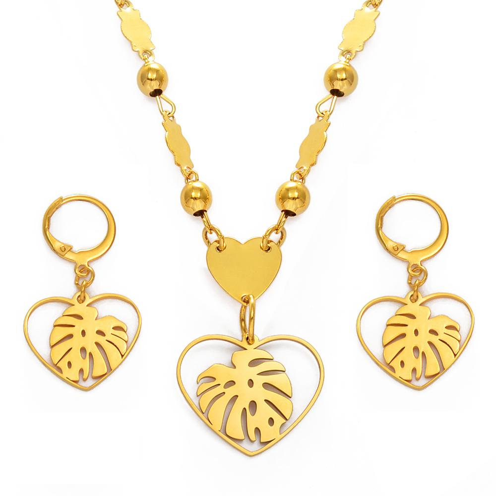 Anniyo Hawaiian Jewelry Set Piantagna foglia collana orecchini Marshallese Guam Micronesia Chuuk Pohnpei Party Regalo # 152321 Z1201