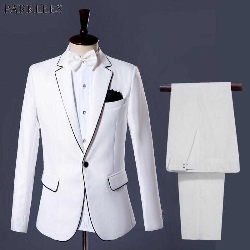 Costume De Mariage Blanc Hommes Blasers (Veste + Pantalon) Fashion Slim Fit Mens Grooms Costume Scénier de scénario Prom Tuxedo Blazer