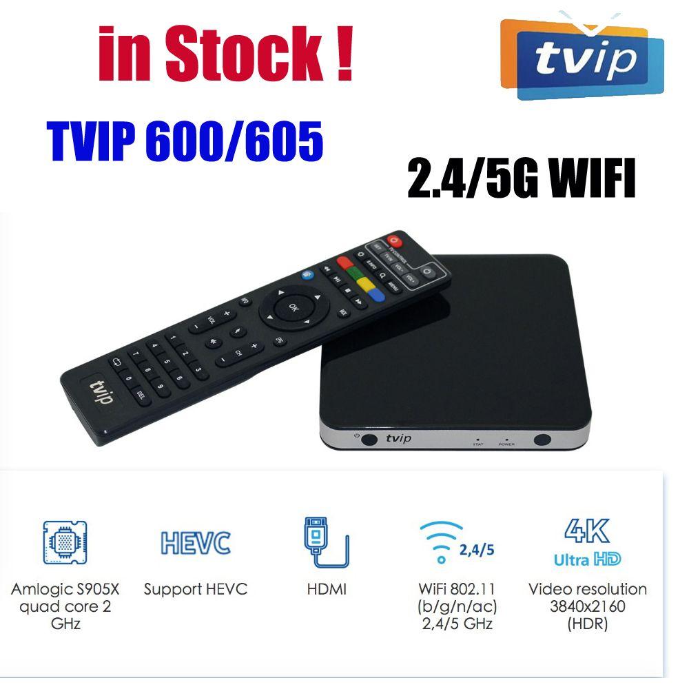 En gros Linux Set Top Box TVIP 605 Dual System Android AMLOGIC S905X 2.4G / 5G WIFI 1GB8GB Smart Media Player TVIP605 PK MAG322W1