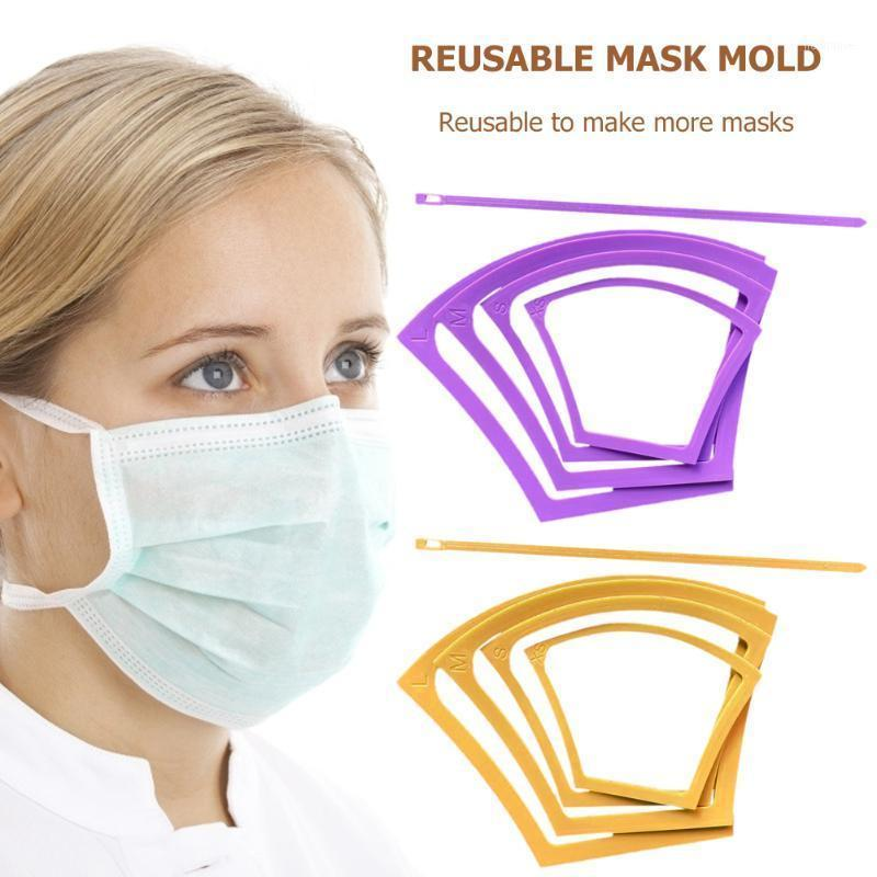 4PCS Face Mask Mold Handmade Mold Crafts kits Home Decor Reusable Mask Templates Patterns For DIY Masks With Elastic Tool1