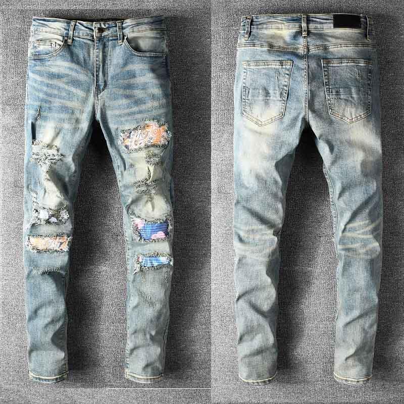 Мужские Цветные Урожай Байкер Джинсы для мужчин Slim Fit Plue Размер 40 42 Ретро Прямой Новый Бренд Уомо Джинсовые штаны Мужские дизайнерские джинсы