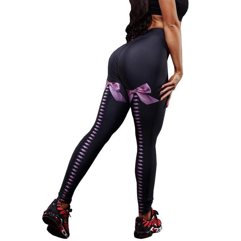 Sexy push up donne leggings collant collant stampati bowknot bowknot vendita calda femmina styly pantaloni pantaloni sportivi fitness legging nuovo