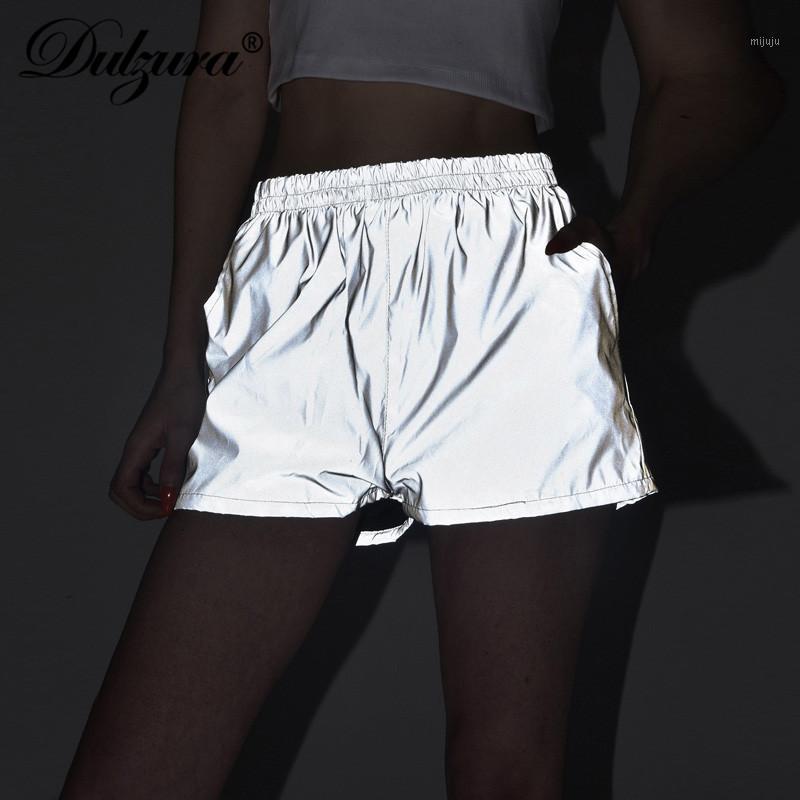 Dulzura 2019 Flash Reflective Women Women Shorts Streetwear Festival Party Club Casual Grey Active Wear1