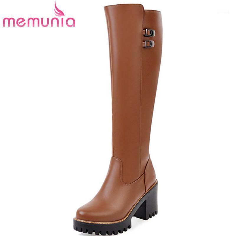 Memunia 2020 New Knee High Boots Platform Boots Мода пряжка Круглый Носок Осень Зимние Женщины Большой Размер 34-431