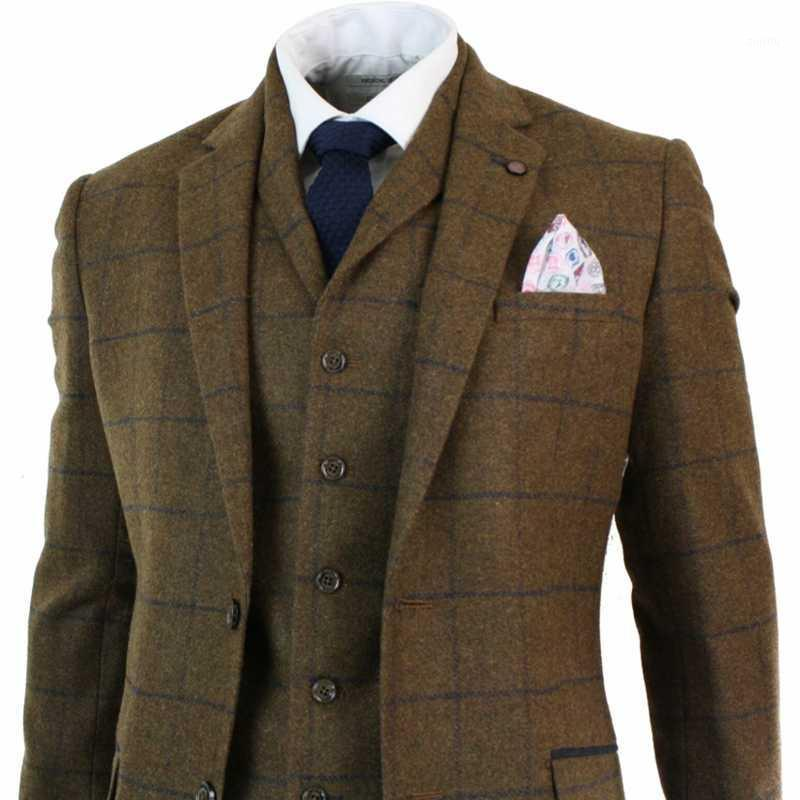 2020 Cavani Erkek Suits Herringbone Tüvit Tan Kahverengi Kontrolü 3 Parça Yün Takım Peaky Blinders Donanma Kostüm Homme1