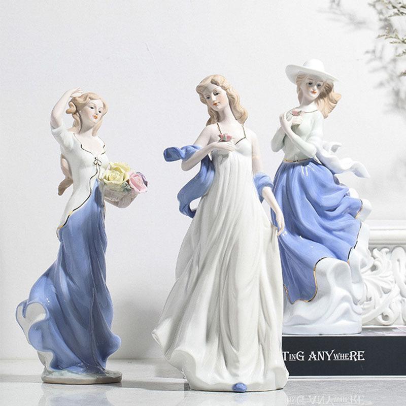 Western Beauty Character Cerâmico Sculpture Casa Decoração Ornamentos Miniatura Modelo Artware Aniversário Presentes Fundishing Fundishing T200619