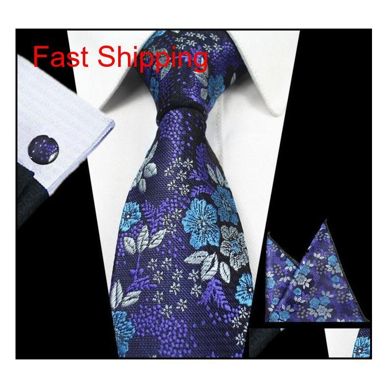 20 estilos Sets del corbata para hombre conjuntos de jacquard de seda floral Zóquera tejida Gravata Corbatas Hanky Gemelos Juego de corbatas para hombres Formulario Qylsoc Beauty888