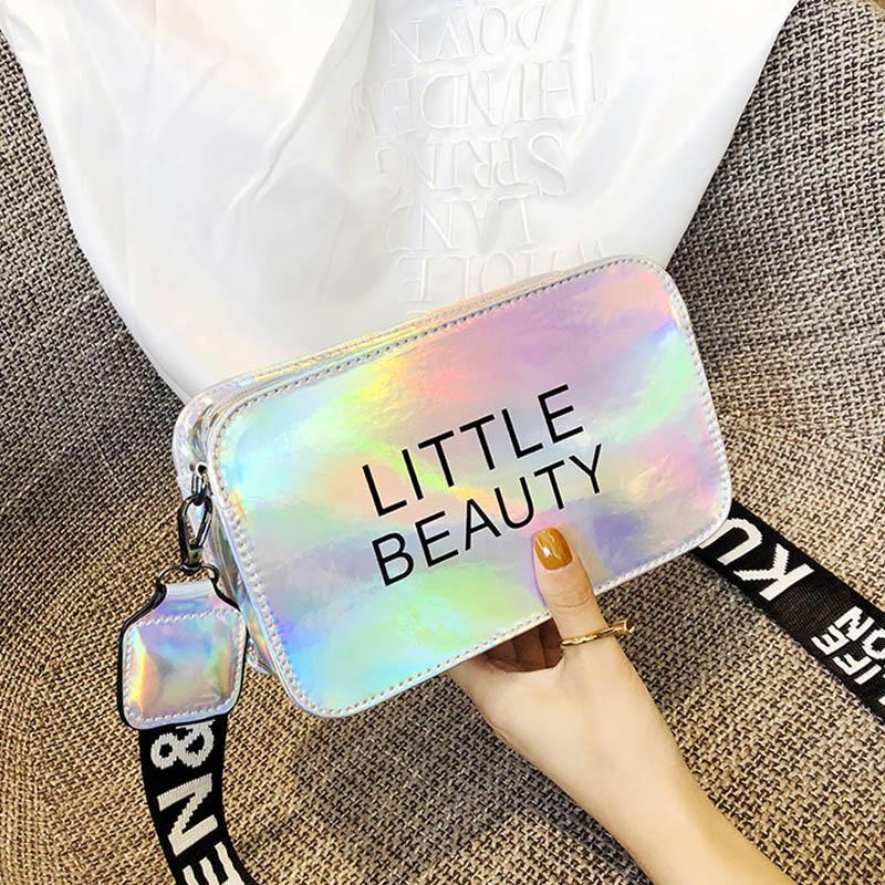 Femme Bandbody Sacs Laser Sacs Femmes Jelly Sacs Petite Square Quality Strap Lettre Lettre sauvage Pu Sac Messenger High pour 77646 MGNOF
