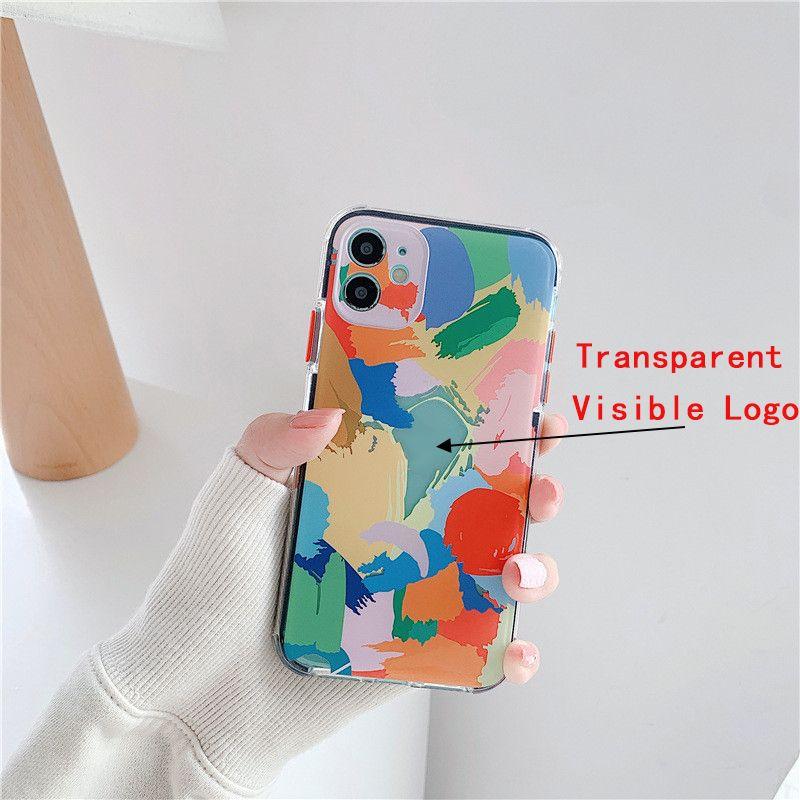 Para iPhone 12 Pro Max Phone Cases Moda arco-íris Graffiti macio TPU caso capa protetora para iphone 11 XS Max 8 7 Plus