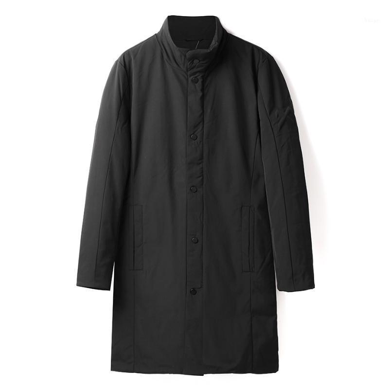 Новая зимняя повседневная толстая куртка мужчина теплая мода качества длинные 90% белый утка вниз пальто мужская стойка воротник Parkas Hi-Q1