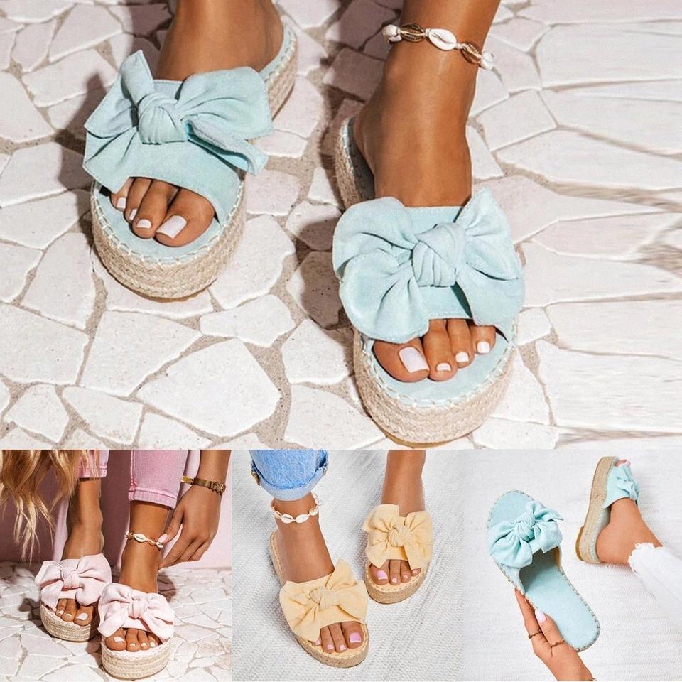 Zapatillas para mujer Diapositivas de verano arco de verano Sandalias de verano Slipper interior Lino al aire libre Flip-flops Playa Zapatos Plataforma Slipper 2020 # WV7G