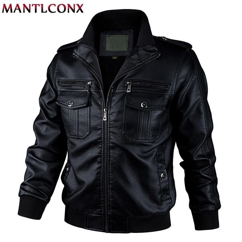 Mantlconx Nuevo otoño primavera motocicleta chaqueta de cuero hombres rompevientos moda PU chaquetas masculinas Outwear cálido PU chaquetas 5xl 6xl 20114