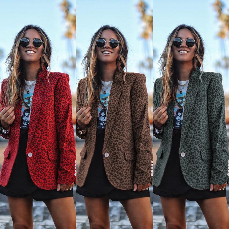 2019 Imprimé léopard Blazer Feminino Vêtements avec bouton Blaser Veste Jaune Rouge Gris Couleurs Mode Femme Vestes et manteaux X1214