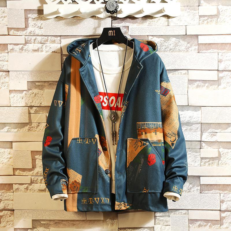 남성 패션 스트리트 후드 폭격기 자켓 코트 스트리트웨어 인쇄 윈드 브레이커 남성 한국 패션 가을 자켓 코트