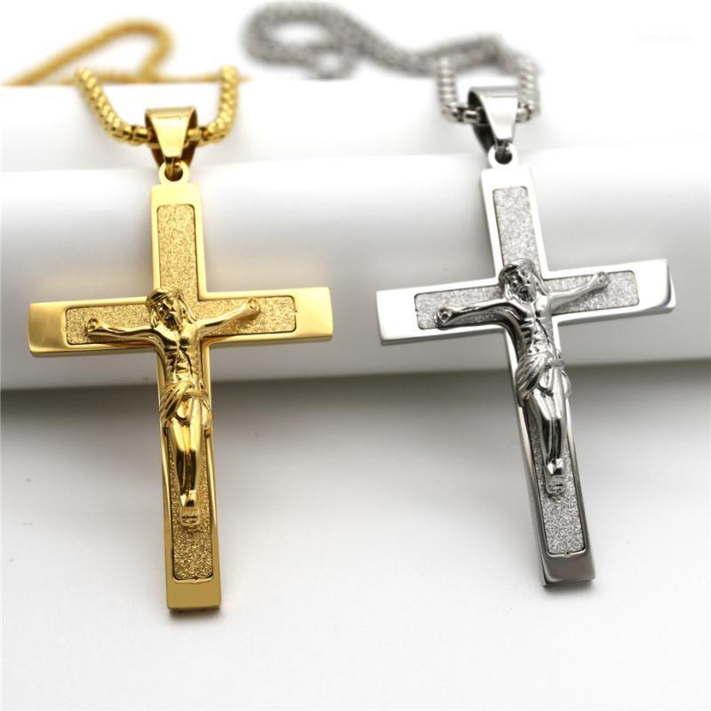 Ouro / cor prata padrão cruzado pingente colares para homens em aço inoxidável link corrente jesus crúci declaração religiosa jóias1