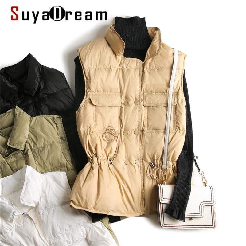 Suyadream Kadın Aşağı Ceket Standı Yaka Kış Yelek Kuşaklı Bel Katı Bayan Parka Sıcak Ceketler 201211