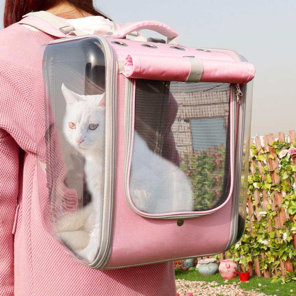 الحيوانات الأليفة القط الناقل ظهره تنفس القط السفر في الهواء الطلق حقيبة الكتف للكلاب الصغيرة القطط المحمولة التعبئة والتغليف المحمولة لوازم الحيوانات الأليفة LJ201201