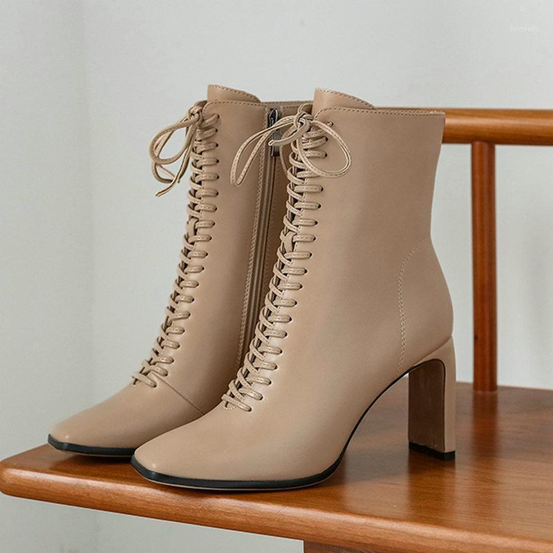 Женская обувь мода квадратные носки ботильоны Faxu кожаные на высоком каблуке сапоги осень зима женская обувь1