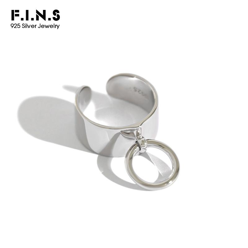 F.I.N.S 925 Sterling Silver Rings for Women Wide Female Ring with Circular Pendant Open Cuff Adjustable Ring Women's Decoration 201118