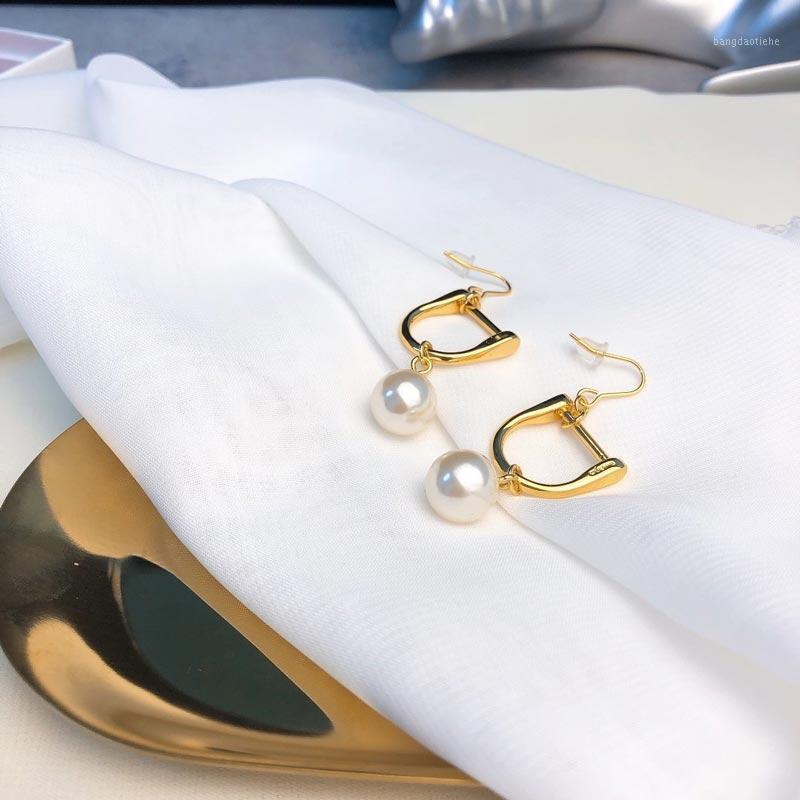 Boucles d'oreilles en pendentif irrégulier à la main Zircon Perle bijoux 18K plaqué or en laiton boucles d'oreilles boucles d'oreilles pour femmes asymétriques boucle d'oreille CH1