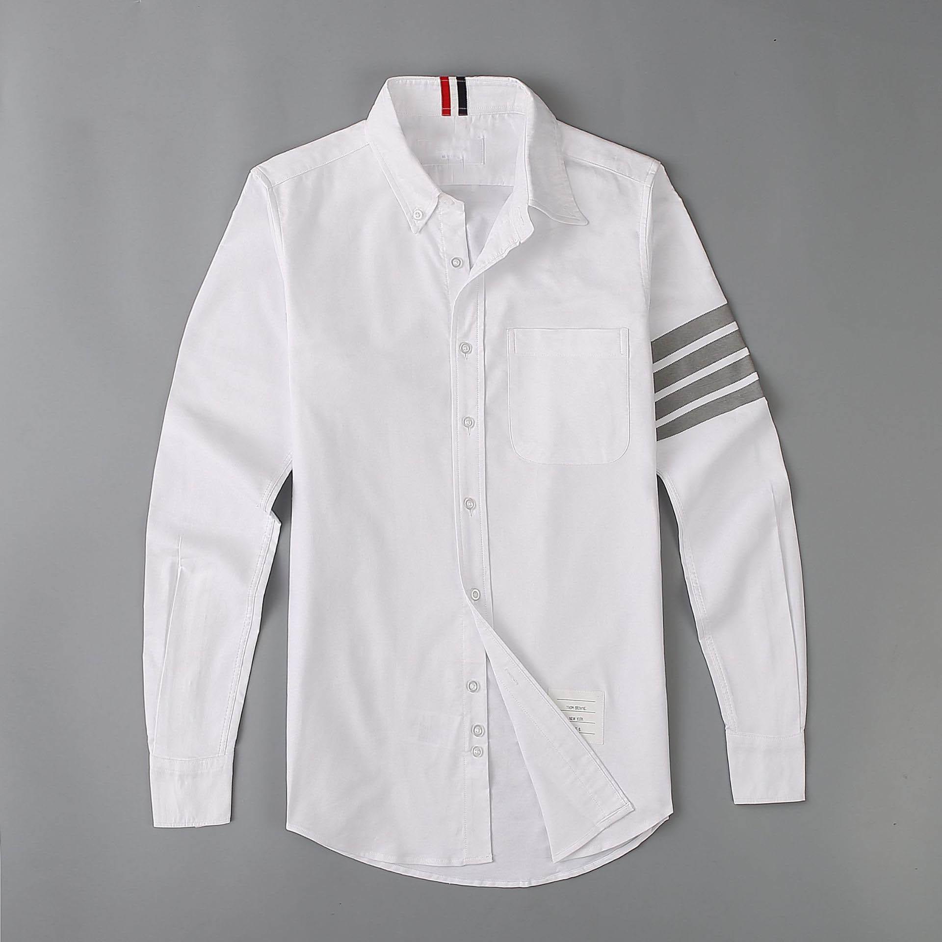New 19ss Men Oxford Classic Grey stripe Fashion Cotton Casual Shirts Shirt high quality Pocket long-sleeves Top M 2XL #M49 C1215