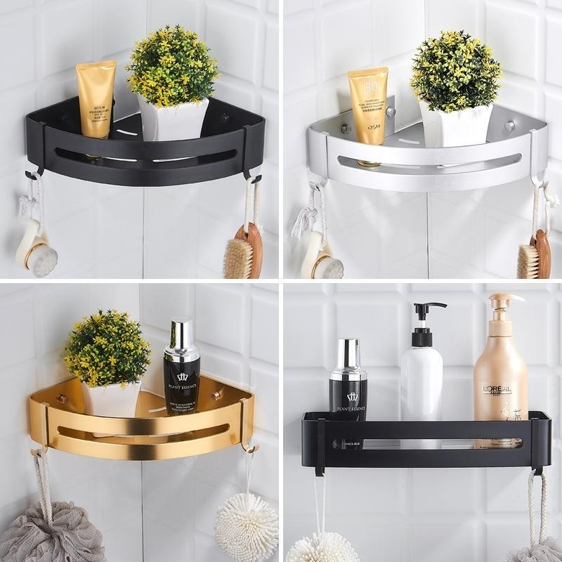 Aluminium-verdickter Shees Schwarz-Regal-Küchen-Badezimmer-Speicherplatz-Wand-Duschkorb Eckgestell mit 2 Haken