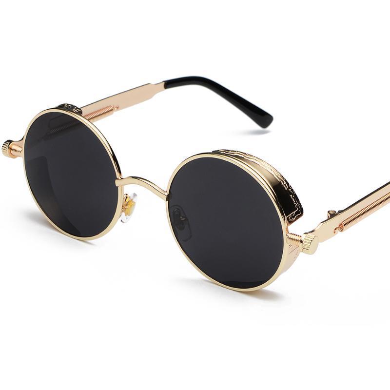 2020 Metal Redondo Steampunk Gafas de sol Hombres Mujeres Moda Gafas Brand Designer Retro Marco Vintage Gafas de sol Vintage UV400