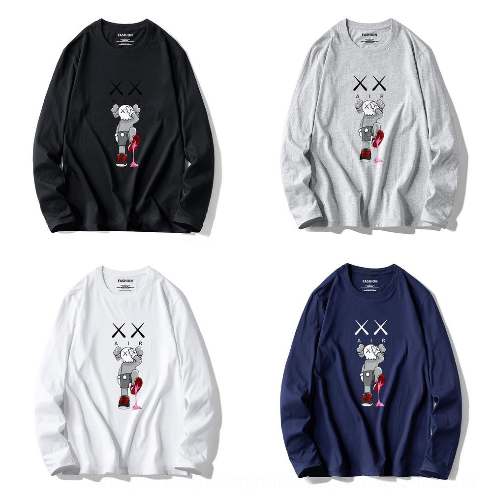 MHSQY Spring y otoño New Sesame Street Kaws Kaws Suéter para hombre Camiseta coreana Pullover Casual Suelto Algodón Pullover Camiseta de manga larga para mí