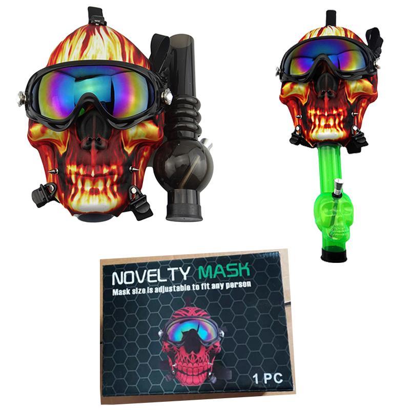 Gas de silicona Dry Multifunción Skull Tubos de calaveras Pipa Creativa Sol Sun Mask Herb Acrylic Bong Glasses Burner Patrón SHISHA HOO MLJK