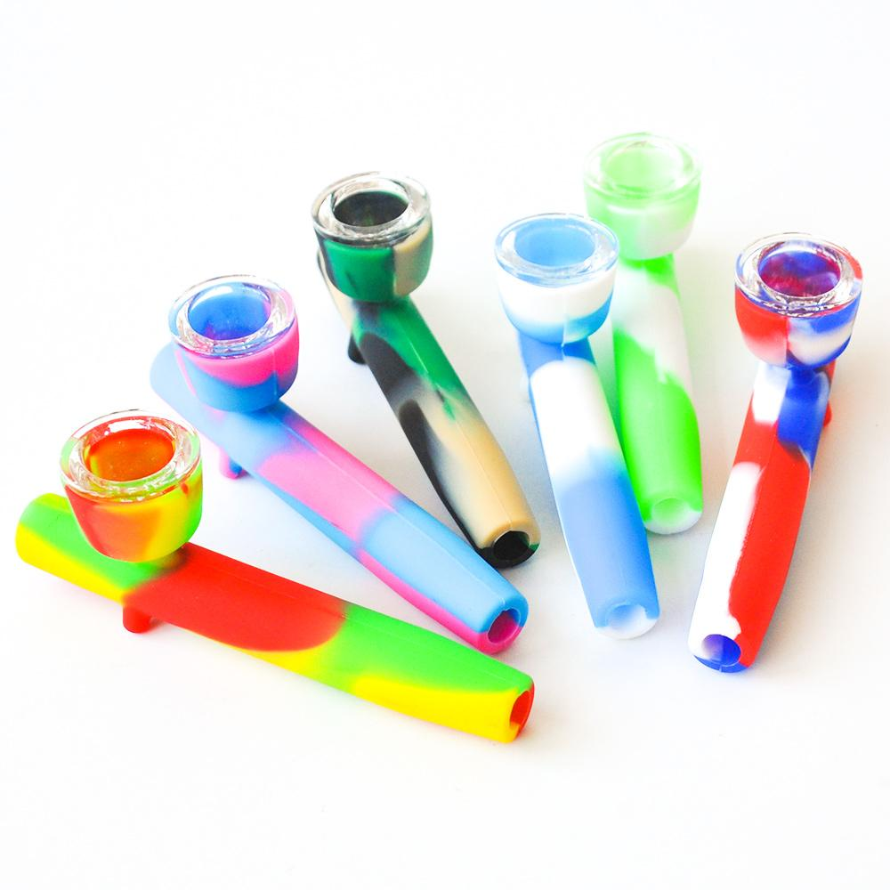 Tubo de fumar de silicona 4.0inches Tubo de mano de silicona multi con tazón de vidrio para fumar petróleo plataformas DAB Rigs DHL envío gratis