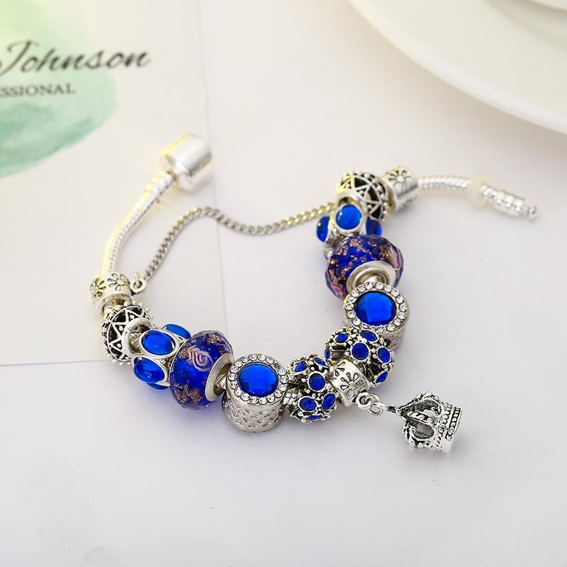 Pulsera de encanto azul de cristal azul plateado de alta calidad Pulsera de la marca del colgante de la corona Pulsera de la marca Original DIY Mujer Joyería