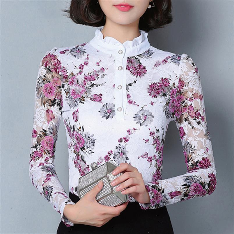 Neue Mode Blusa Frauen Marke Hemd Slim Pirnted Hemd Langärmelige Weibliche Spitze Tops Frauen Spitze Bluse Plus Größe 4XL 36i 25