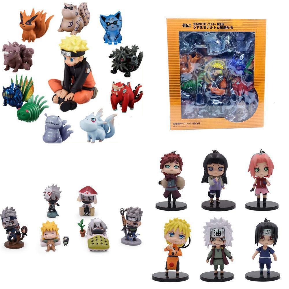 5-10cm Anime Naruto Action Figure Toys Uzumaki Naruto Uchiha Sasuke Hatake Kakashi PVC Modèle Poupée collection Jouets enfants 14 Styles Y1130