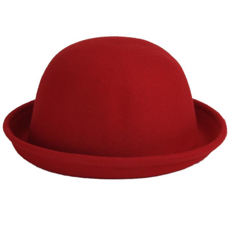 Hot Sale-Women Hats Fedoras Vintage Fedora Chapeau Feutre Winter felt Sombreros de fieltro Solid Fedoras Hats Cappello Bombetta Caps