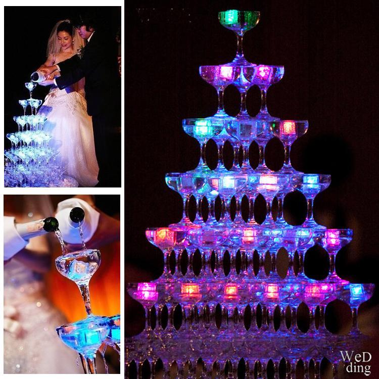 Luces de cubitos de hielo LED Polychrome Flash Ice Liquid Sensor Brillante Cubo de hielo Luces sumergibles Decoración de la decoración Light Up Bar Club Body Fiesta