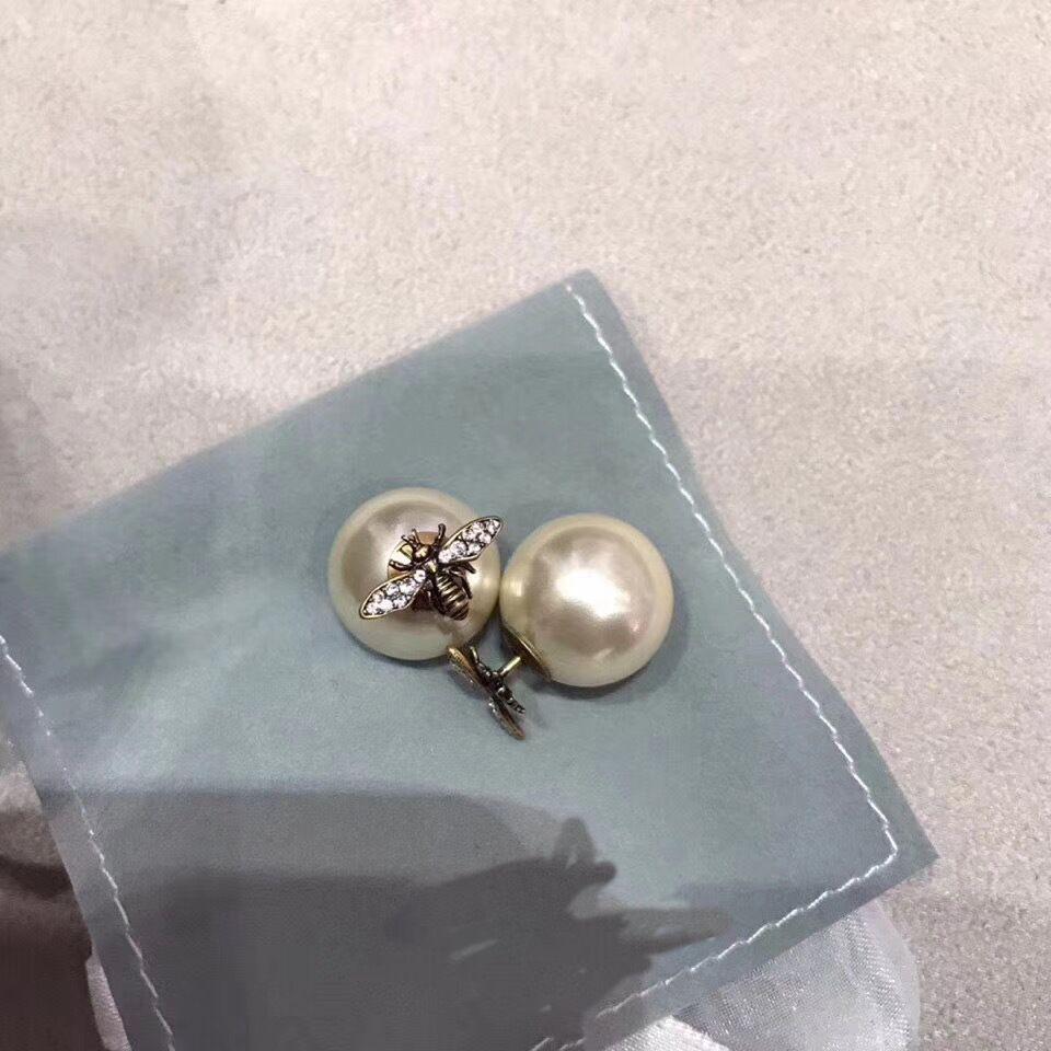 Brincos de abelha de tira de moda Adequado para desenho de casamento de senhoras branco brincos de pérola jóias com caixa
