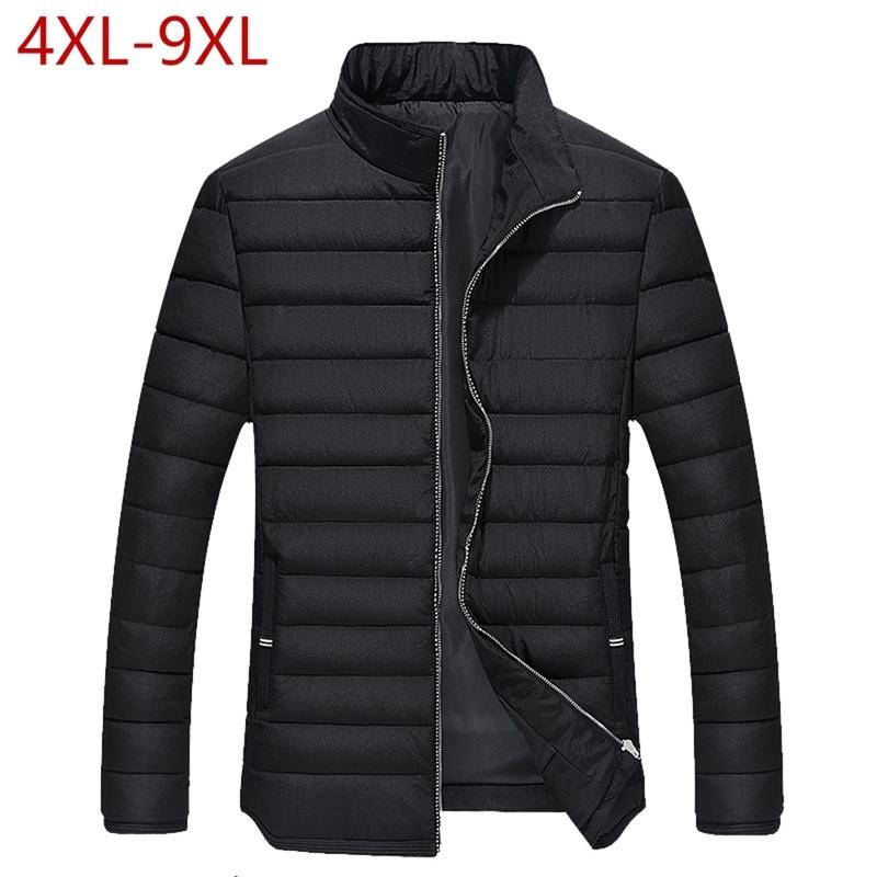 Kış Ceket Erkekler Sıcak Pamuk Yastıklı Parkas Katı Standı Yaka Kalın Dış Giyim Rahat Erkek Mont Artı Boyutu 4XL-9XL Giysiler Erkekler için 201125
