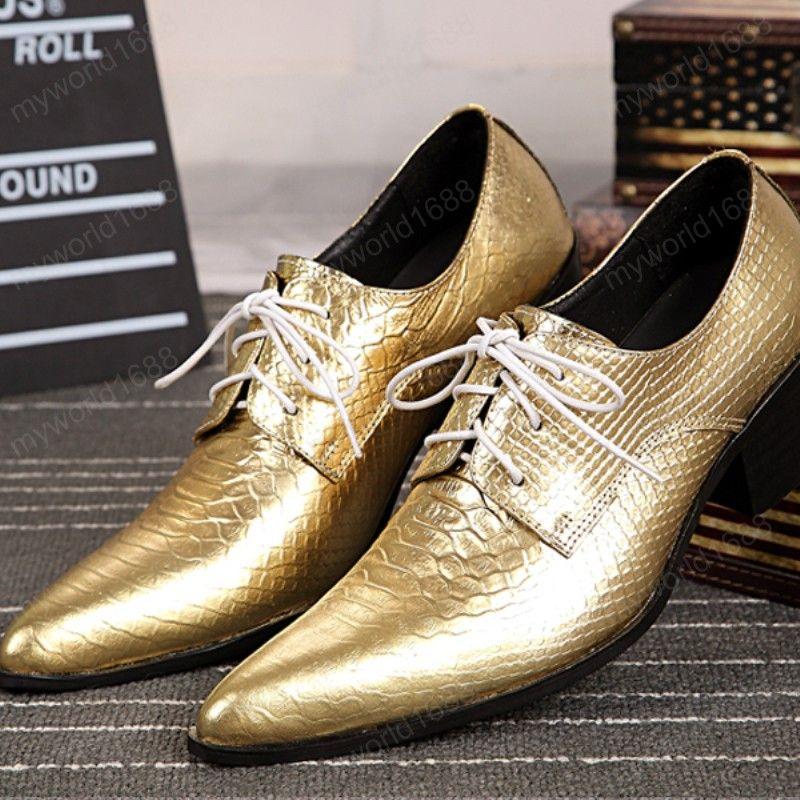 Классический мужчина Золотая Настоящая Кожаная Обувь Дерби Мода Заостренный Новый Мужской Кружев Оксфорды Обувь Мужской Ночной клуб Обувь